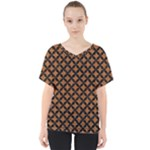 CIRCLES3 BLACK MARBLE & RUSTED METAL V-Neck Dolman Drape Top