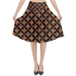 CIRCLES3 BLACK MARBLE & RUSTED METAL Flared Midi Skirt