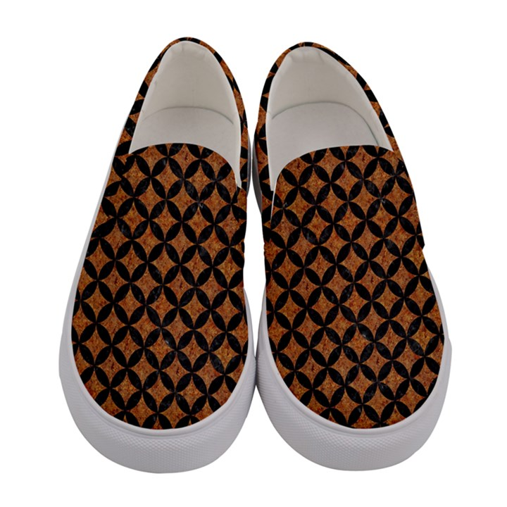 CIRCLES3 BLACK MARBLE & RUSTED METAL Women s Canvas Slip Ons