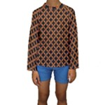 CIRCLES3 BLACK MARBLE & RUSTED METAL (R) Kids  Long Sleeve Swimwear