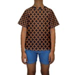 CIRCLES3 BLACK MARBLE & RUSTED METAL (R) Kids  Short Sleeve Swimwear