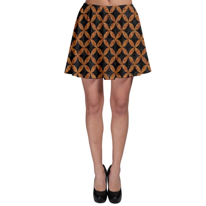 CIRCLES3 BLACK MARBLE & RUSTED METAL (R) Skater Skirt