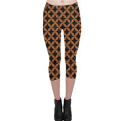 Circles3 Black Marble & Rusted Metal (r) Capri Leggings