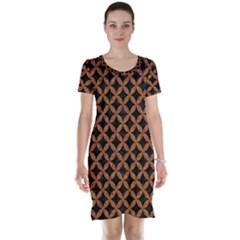 CIRCLES3 BLACK MARBLE & RUSTED METAL (R) Short Sleeve Nightdress