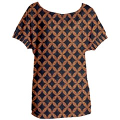 Circles3 Black Marble & Rusted Metal (r) Women s Oversized Tee