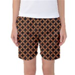 CIRCLES3 BLACK MARBLE & RUSTED METAL (R) Women s Basketball Shorts