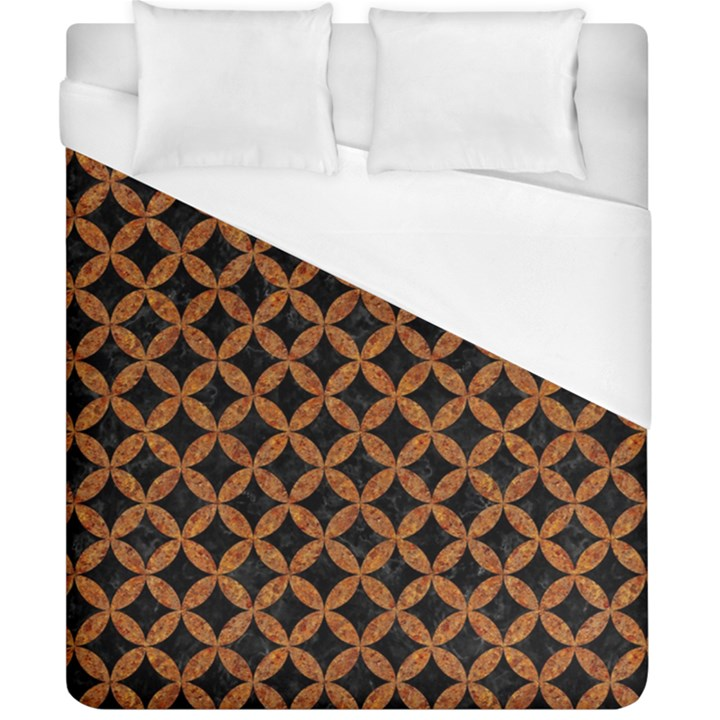 CIRCLES3 BLACK MARBLE & RUSTED METAL (R) Duvet Cover (California King Size)