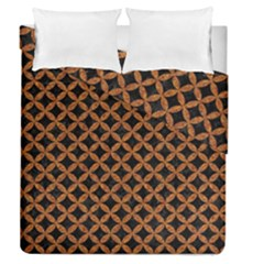 CIRCLES3 BLACK MARBLE & RUSTED METAL (R) Duvet Cover Double Side (Queen Size)