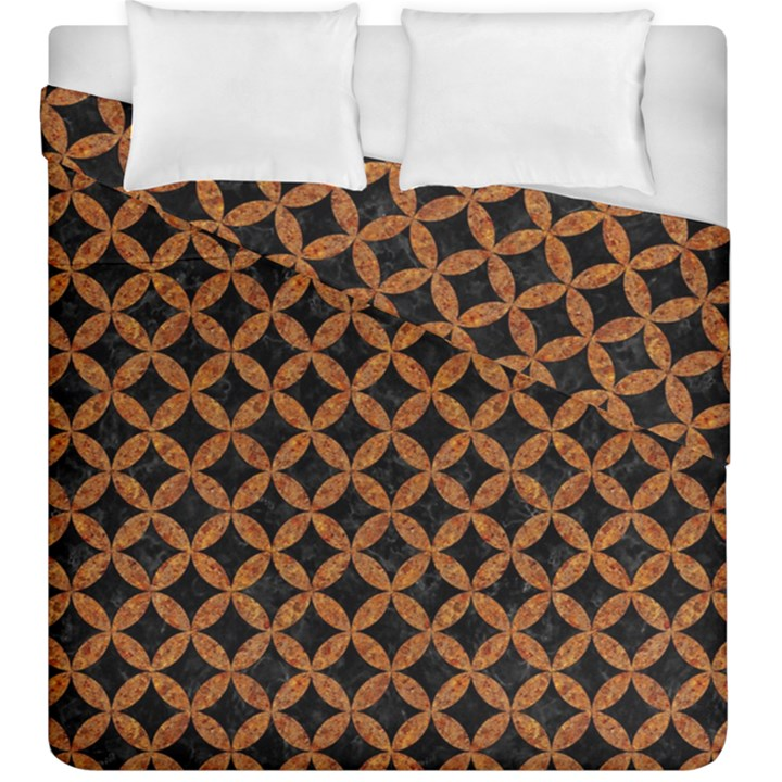 CIRCLES3 BLACK MARBLE & RUSTED METAL (R) Duvet Cover Double Side (King Size)