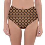 CIRCLES3 BLACK MARBLE & RUSTED METAL (R) Reversible High-Waist Bikini Bottoms