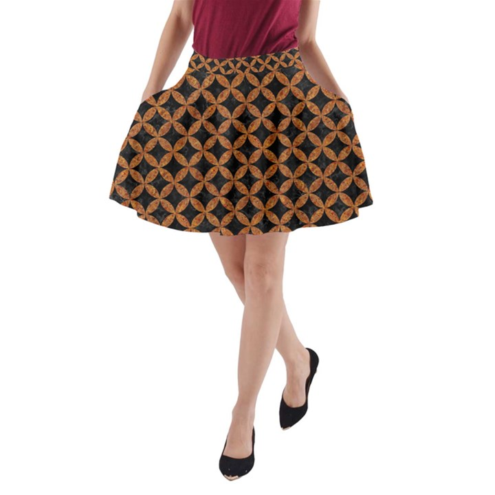 CIRCLES3 BLACK MARBLE & RUSTED METAL (R) A-Line Pocket Skirt