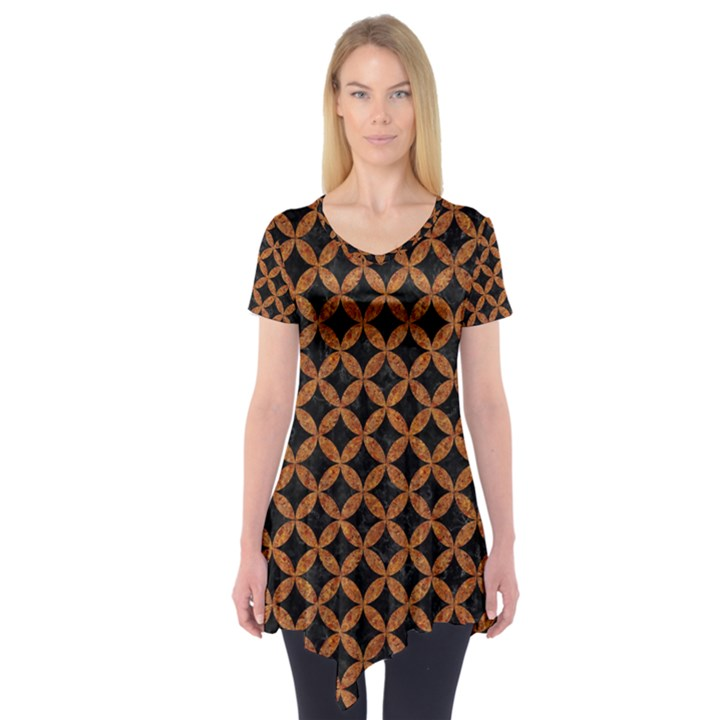 CIRCLES3 BLACK MARBLE & RUSTED METAL (R) Short Sleeve Tunic