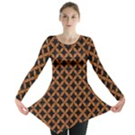 CIRCLES3 BLACK MARBLE & RUSTED METAL (R) Long Sleeve Tunic