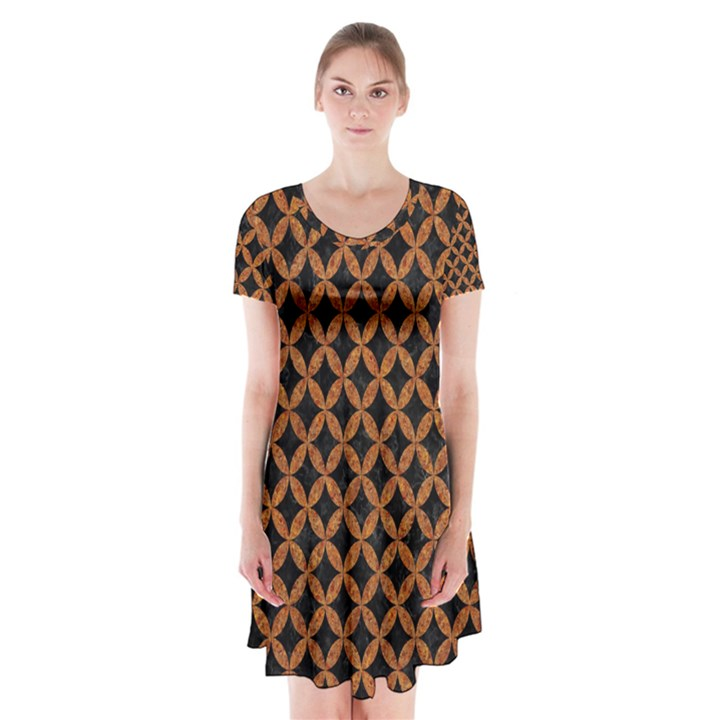 CIRCLES3 BLACK MARBLE & RUSTED METAL (R) Short Sleeve V-neck Flare Dress