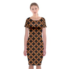 Circles3 Black Marble & Rusted Metal (r) Classic Short Sleeve Midi Dress