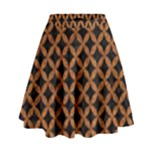 CIRCLES3 BLACK MARBLE & RUSTED METAL (R) High Waist Skirt