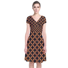 Circles3 Black Marble & Rusted Metal (r) Short Sleeve Front Wrap Dress