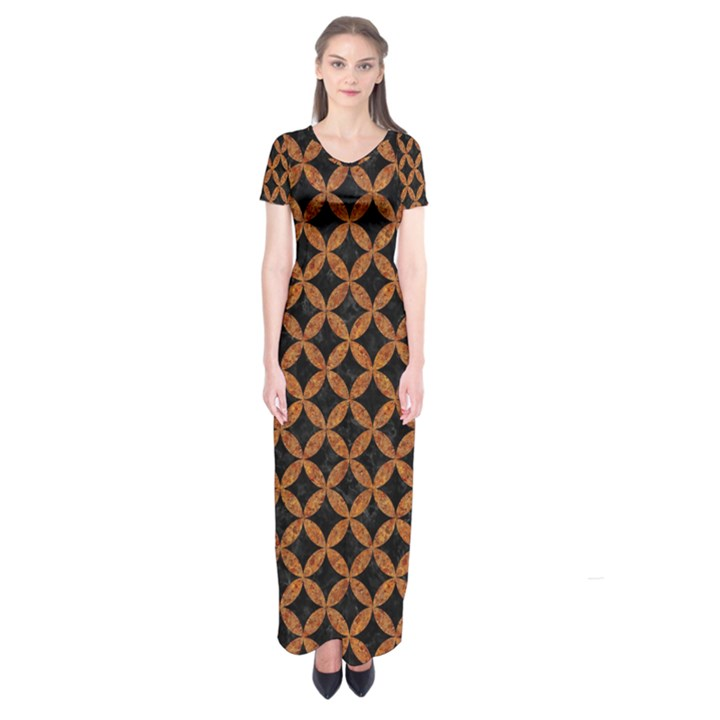 CIRCLES3 BLACK MARBLE & RUSTED METAL (R) Short Sleeve Maxi Dress