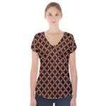 CIRCLES3 BLACK MARBLE & RUSTED METAL (R) Short Sleeve Front Detail Top