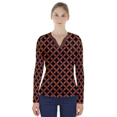 Circles3 Black Marble & Rusted Metal (r) V Neck Long Sleeve Top