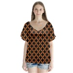 CIRCLES3 BLACK MARBLE & RUSTED METAL (R) V-Neck Flutter Sleeve Top