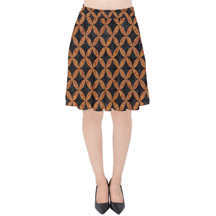 CIRCLES3 BLACK MARBLE & RUSTED METAL (R) Velvet High Waist Skirt