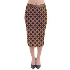 CIRCLES3 BLACK MARBLE & RUSTED METAL (R) Velvet Midi Pencil Skirt