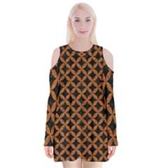 CIRCLES3 BLACK MARBLE & RUSTED METAL (R) Velvet Long Sleeve Shoulder Cutout Dress