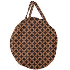 CIRCLES3 BLACK MARBLE & RUSTED METAL (R) Giant Round Zipper Tote