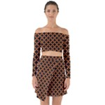 CIRCLES3 BLACK MARBLE & RUSTED METAL (R) Off Shoulder Top with Skirt Set