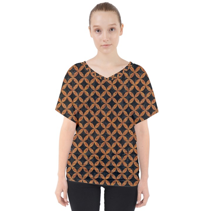 CIRCLES3 BLACK MARBLE & RUSTED METAL (R) V-Neck Dolman Drape Top