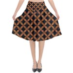 CIRCLES3 BLACK MARBLE & RUSTED METAL (R) Flared Midi Skirt
