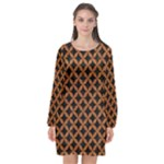 CIRCLES3 BLACK MARBLE & RUSTED METAL (R) Long Sleeve Chiffon Shift Dress