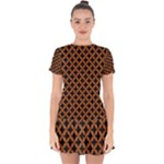 CIRCLES3 BLACK MARBLE & RUSTED METAL (R) Drop Hem Mini Chiffon Dress
