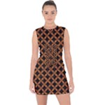 CIRCLES3 BLACK MARBLE & RUSTED METAL (R) Lace Up Front Bodycon Dress