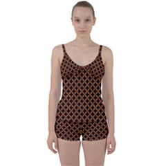 CIRCLES3 BLACK MARBLE & RUSTED METAL (R) Tie Front Two Piece Tankini