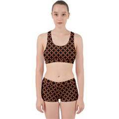 CIRCLES3 BLACK MARBLE & RUSTED METAL (R) Work It Out Sports Bra Set