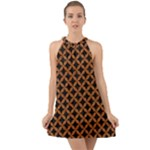 CIRCLES3 BLACK MARBLE & RUSTED METAL (R) Halter Tie Back Chiffon Dress