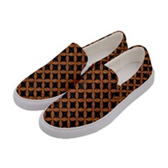CIRCLES3 BLACK MARBLE & RUSTED METAL (R) Women s Canvas Slip Ons