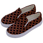CIRCLES3 BLACK MARBLE & RUSTED METAL (R) Kids  Canvas Slip Ons