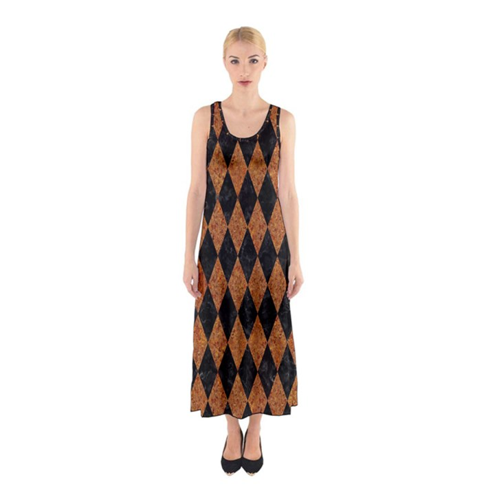 DIAMOND1 BLACK MARBLE & RUSTED METAL Sleeveless Maxi Dress