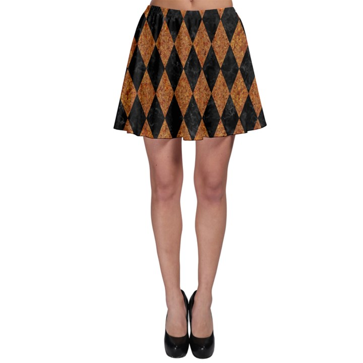 DIAMOND1 BLACK MARBLE & RUSTED METAL Skater Skirt