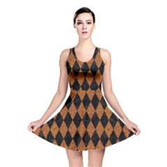 Diamond1 Black Marble & Rusted Metal Reversible Skater Dress