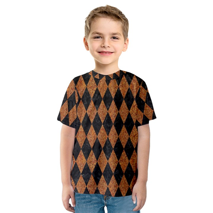 DIAMOND1 BLACK MARBLE & RUSTED METAL Kids  Sport Mesh Tee