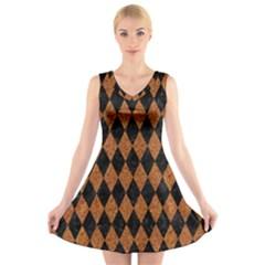 Diamond1 Black Marble & Rusted Metal V Neck Sleeveless Skater Dress