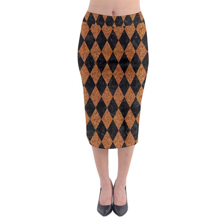 DIAMOND1 BLACK MARBLE & RUSTED METAL Midi Pencil Skirt