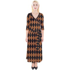 Diamond1 Black Marble & Rusted Metal Quarter Sleeve Wrap Maxi Dress