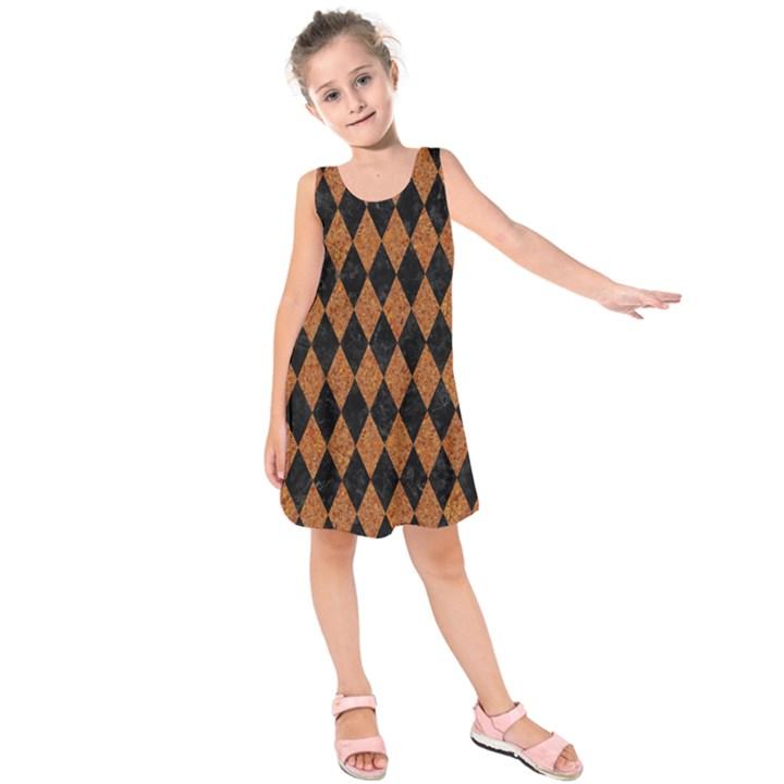 DIAMOND1 BLACK MARBLE & RUSTED METAL Kids  Sleeveless Dress