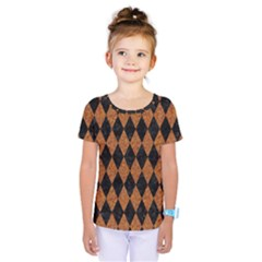 Diamond1 Black Marble & Rusted Metal Kids  One Piece Tee