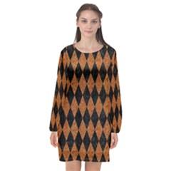Diamond1 Black Marble & Rusted Metal Long Sleeve Chiffon Shift Dress
